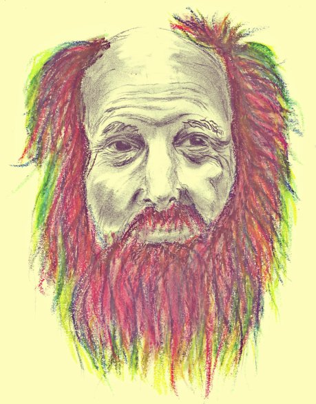 Colorful grumpy old man
